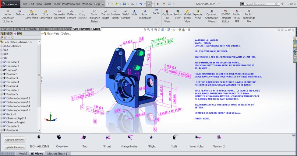 Modelo 3D com detalhamento de fabricação