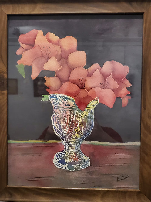 Vase Watercolor Painting by Pamela D Robinson