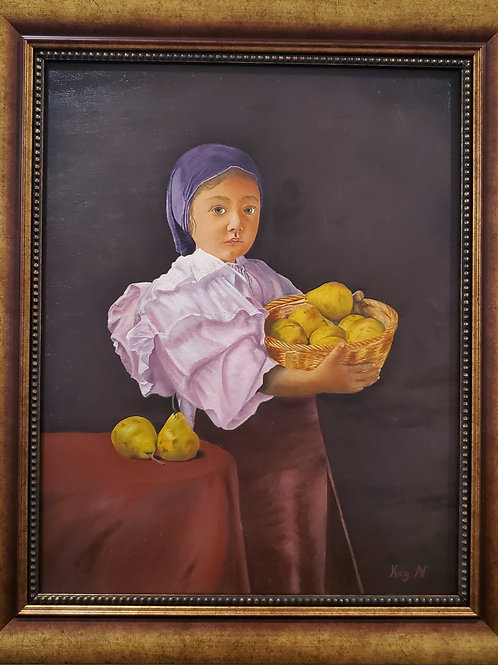 Peasant Girl with Pears Oil Painting by Kay Nuttleman