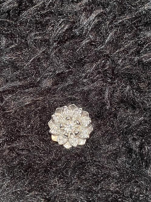 Snap button fleur argent