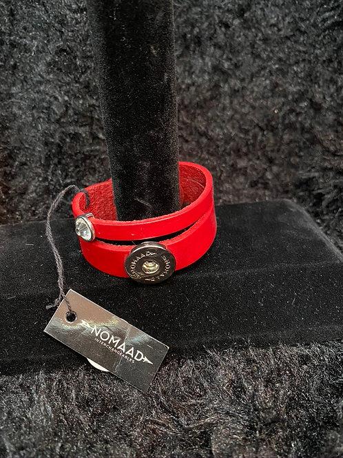 Bracelet cuir rouge avec diamant