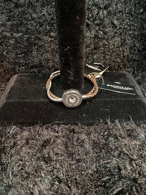 Bracelet moitié cuir brun et chaine argent