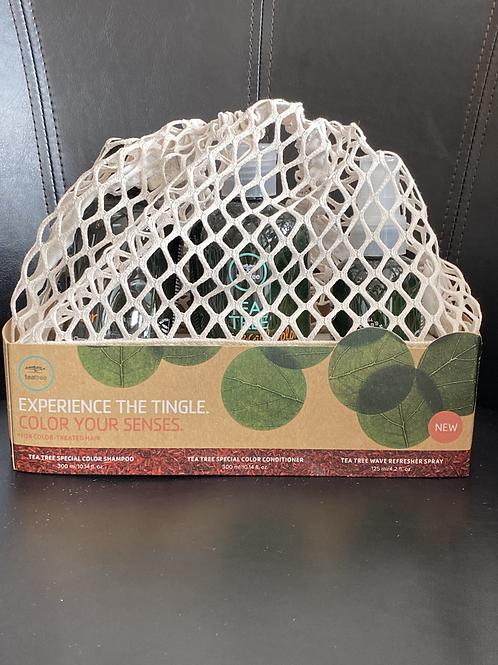 Tea Tree Trio pour cheveux colorés shampooing, revitalisant et refresher spray