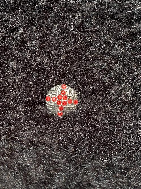 Snap button avec pierre rouge