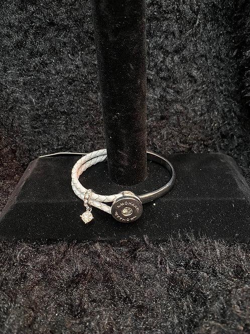 Bracelet moitié cuir blanc et argent