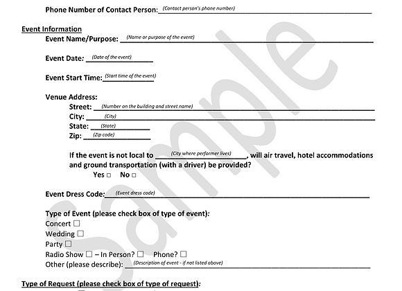 Performance Booking Form