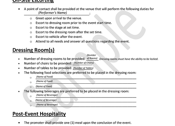 Hospitality Rider Template