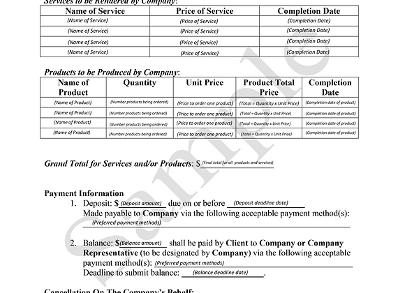 Product & Services Contract Template
