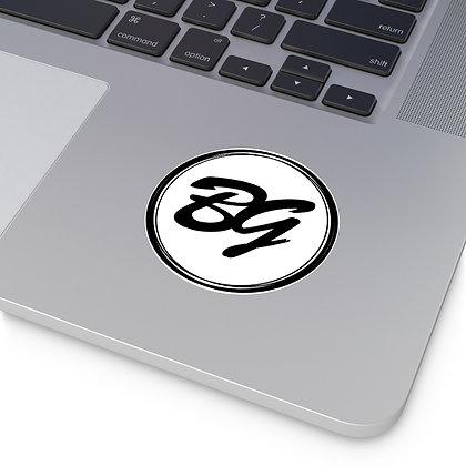 Brook Gee Round Vinyl Stickers - White