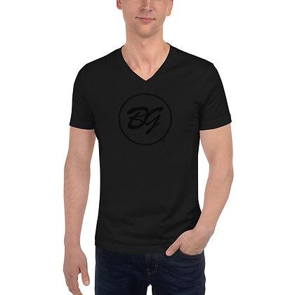 Mens & Women's Short Sleeve V-Neck T-Shirt - Black