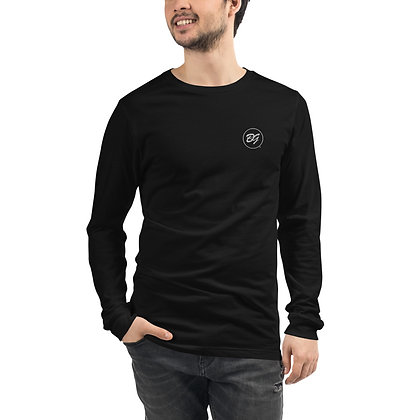 Mens & Women's Embroidered Long Sleeve Tee - Black
