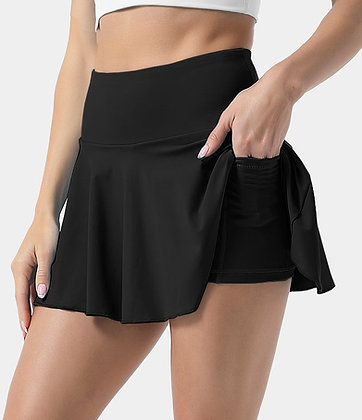 High Rise Tennis Skirt   Black