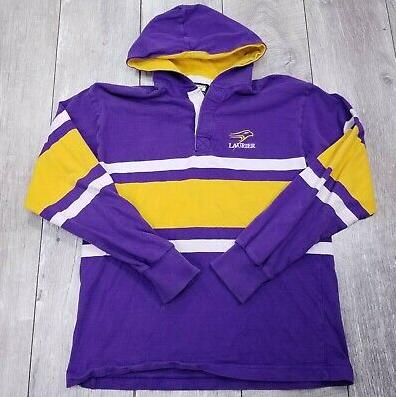 WLU Purple & Gold Hooded Rugby Sweater - Size Medium