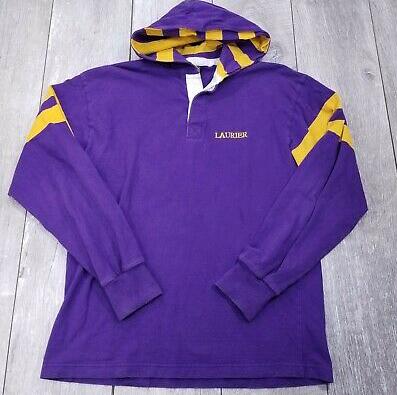 WLU Vintage Purple Base w. Striped Hood Rugby Sweater | Size Large