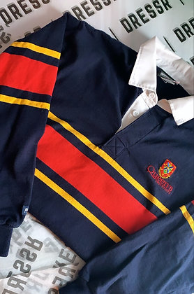 Queen's University    Classic Tri-Colour Rugby Sweater    Size Small