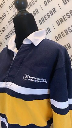 Laurentian University | Navy & Gold Rugby Sweater | Size X-Small