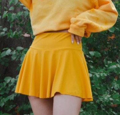 High Rise Tennis Skirt   Gold