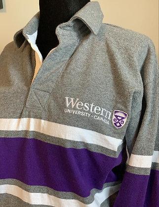 Western Mustangs Gray & Purple Rugby Sweater | Shop Lightly Vintage