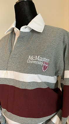 McMaster    Gray & Maroon Rugby Sweater - XS   Shop Lightly-Vintage