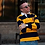 Thumbnail: Queens Gold & Navy Rugby Sweater   Shop Lightly-Vintage