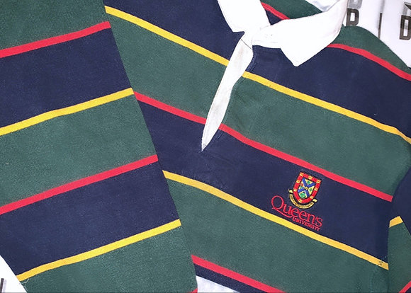 Queen's University  | Green & Navy Rugby Sweater - Size Small