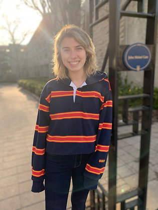 Vintage Queens University Striped Long Sleeve Hooded Rugby Shirt | Shop Vintage