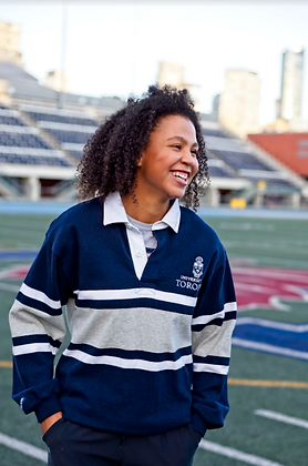 University of Toronto | Gray & Navy Rugby Sweater | Size Small