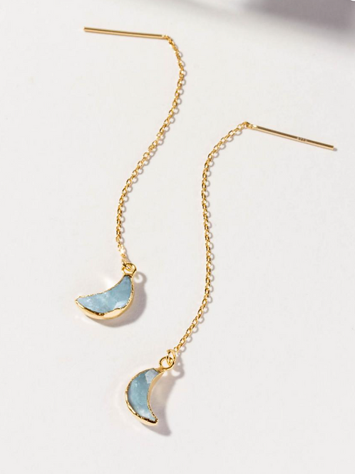 Aquamarine Moon Earrings