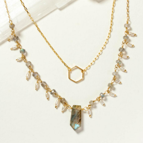 Labradorite & Freshwater Pearl Necklace Set