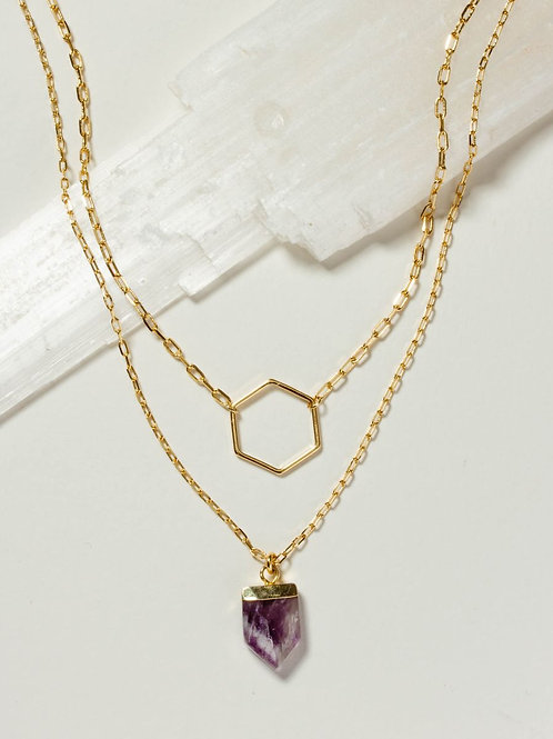 Architectural Necklace Set in Amethyst