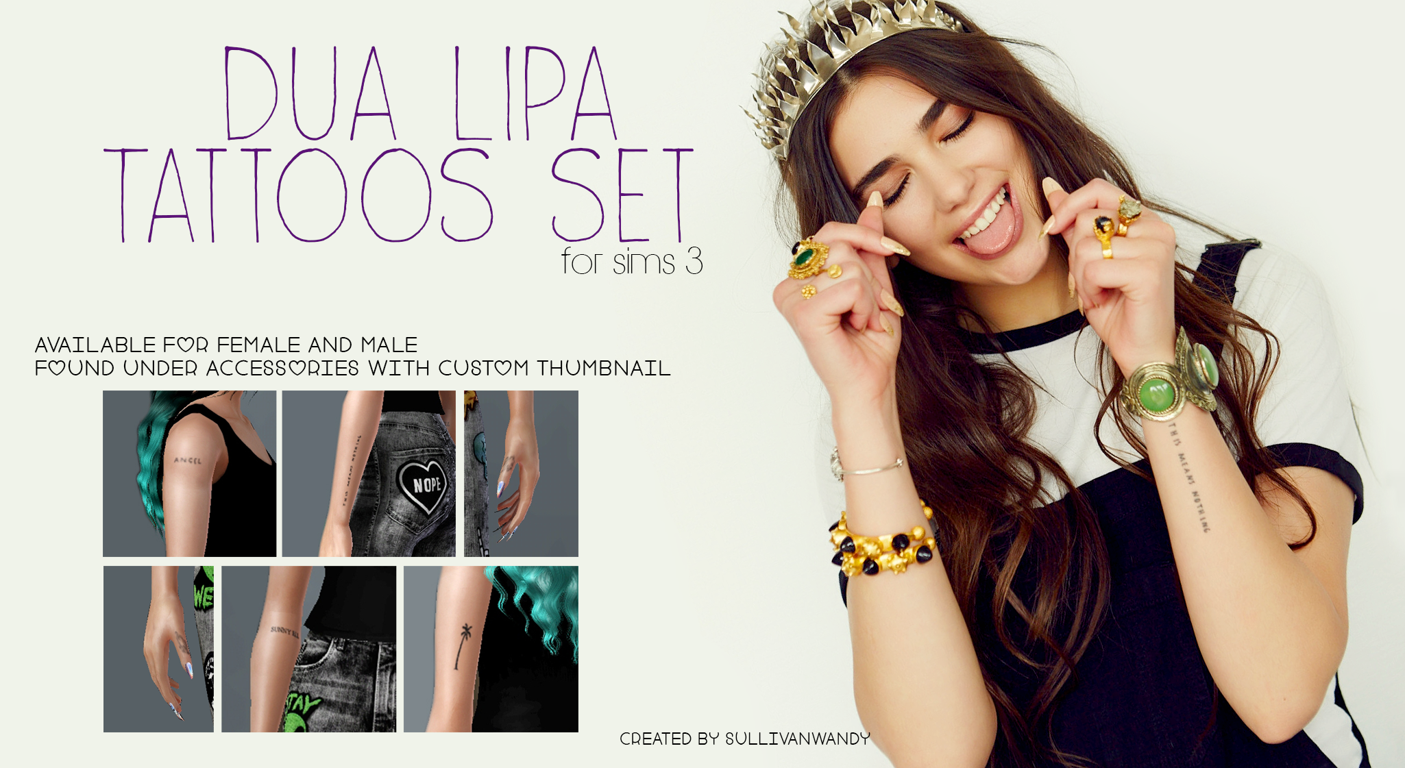 Dua Lipa Tattoo: Dua Lipa Tattoos Set