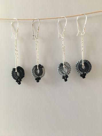 Silver drop earrings grey cotton lace