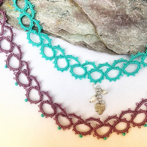 Lace chokers with pearls