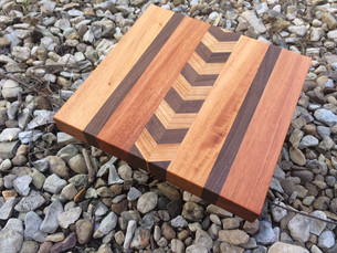 Large Butcher Block Board with Chevron Inlay