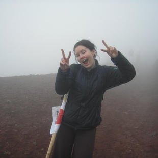 Sliding down scree and tallus in a sea of fog