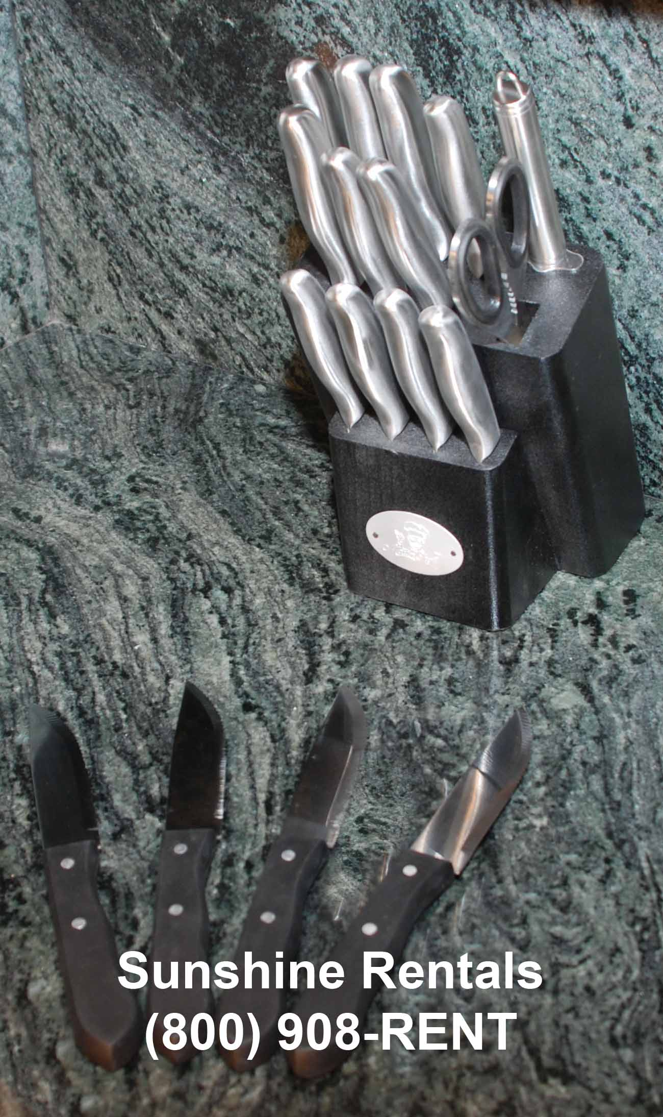 Sunshine Rentals Black Knife Block