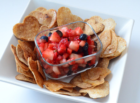 Vanilla Berry Fruit Salsa with Cinnamon Tortilla Chips