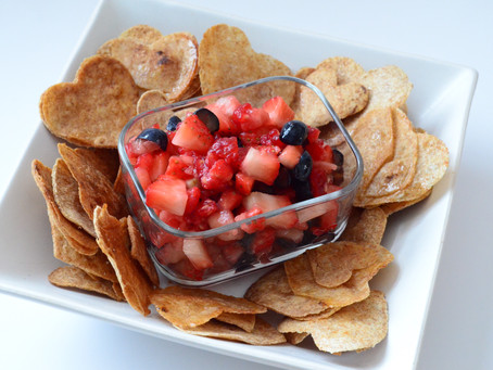 Vanilla Berry Fruit Salsa with Cinnamon Tortilla Chips