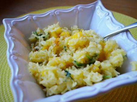 Rice Cooker Dumpling Squash & Arugula Risotto