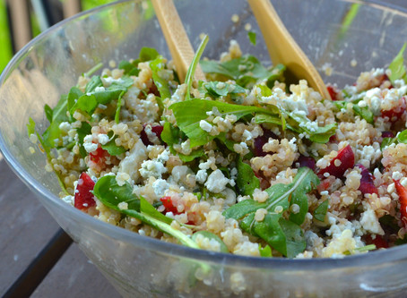 Arugula, Berry & Blue Cheese Quinoa Salad