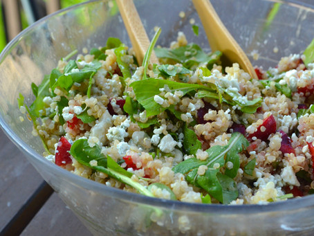 Arugula, Berry & Blue Cheese Quinoa Salad