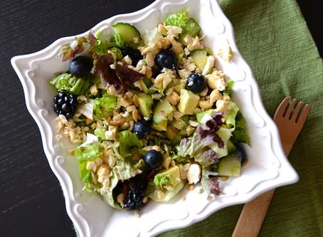 "Blackberry & Cashew ""Cheese"" Greens Salad"