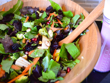 Winter Salad with Homemade Cashew Cranberry Dressing