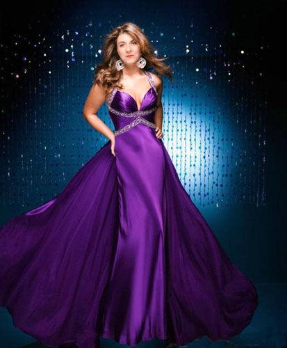 Lori Joachim Fredrics wearing a purple dress