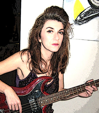 Photo of Lori Joachim Fredrics playing bass