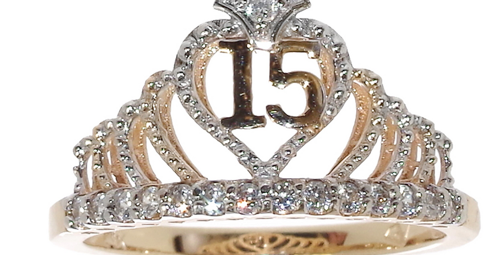 14 K Bling Crown Quince Ring