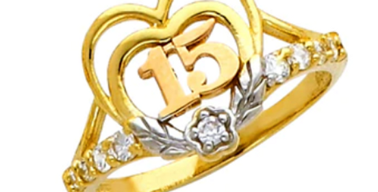 14 K Double Heart Quince Ring