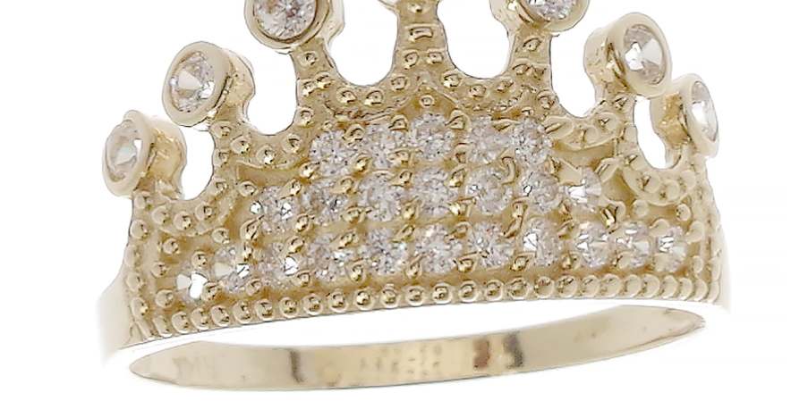 14 K CZ Crown Quince Ring