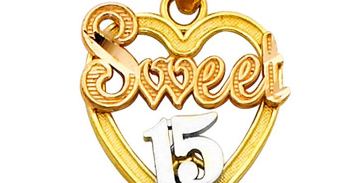 14K Sweet 15 Pendant