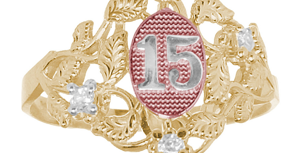 14 K Leaves Quince Ring